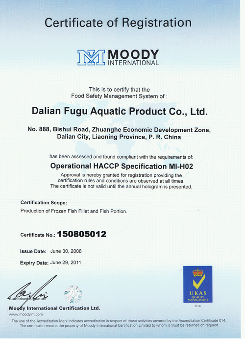 Operational HACCP Specification MI-H02- Dalian Fugu Foods ...